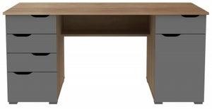 Alphason Kentucky Light Oak and Grey High Gloss Computer Desk - AW1374LO