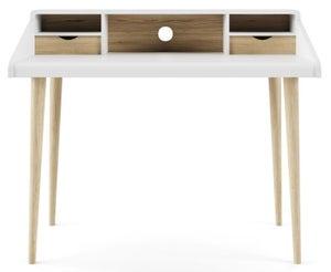 Alphason Yeovil White and Light Oak Writing Desk - AW3180