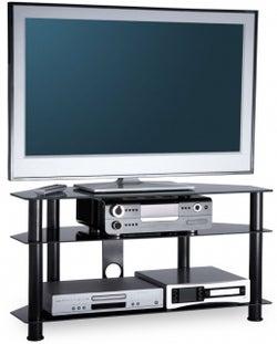 Alphason Essential Black Glass TV Unit for 45inch - ESS1000-3-BLK