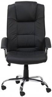 Alphason Houston Black Leather Faced Office Chair - AOC4201A-L-BK