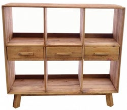 Ancient Mariner Fair Isle Reclaimed Pine 3 Drawer Open Bookcase