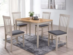 Altona Dining Set with 4 Chair - Oak and Stone Grey Painted