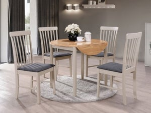 Altona Round Drop Leaf Dining Table - Oak and Stone Grey Painted