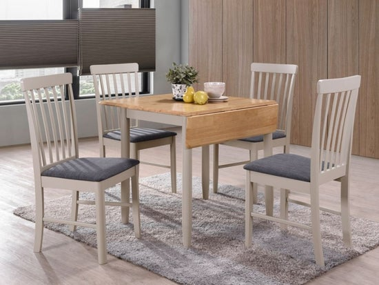 Altona Drop Leaf Dining Table - Oak and Stone Grey Painted
