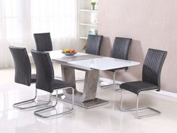 Castello Large Butterfly Extending Dining Table and 6 Grey Chairs - White High Gloss and Natural