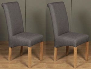 Sophie Grey Fabric Dining Chair (Pair)