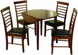 Hanover Dark Oak Round Drop Leaf Dining Table and 4 Chairs