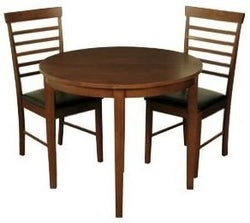 Hanover Dark Oak Round Extending Half Moon Dining Table and 2 Chairs