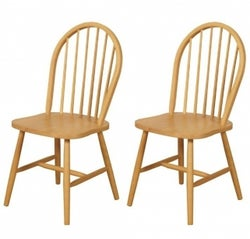 Hanover Light Oak Spindle Back Country Kitchen Dining Chair (Pair)