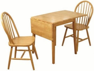 Honeymoon Light Oak Drop Leaf Dining Table and 2 Spindle Back Chairs