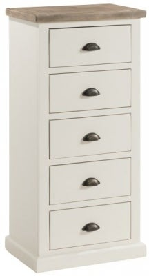 Santorini Stone Painted 5 Drawer Tall Chest