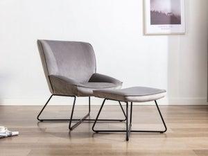 Teagan Grey Velvet Fabric Chair and Footstool