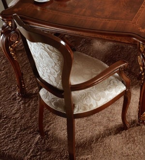 Arredoclassic Donatello Brown Italian Fabric Dining Armchair (Pair)