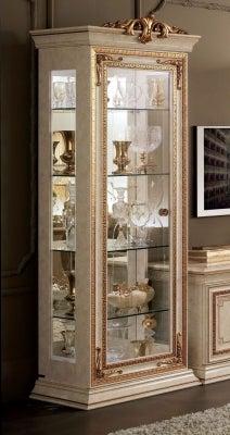 Arredoclassic Leonardo Golden Italian 1 Glass Door Display Cabinet