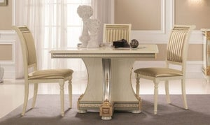 Arredoclassic Liberty Ivory with Gold Italian 118cm-158cm Square Extending Dining Table