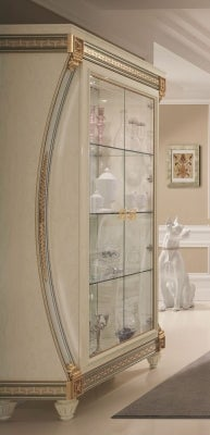 Arredoclassic Liberty Ivory with Gold Italian 2 Glass Door Display Cabinet