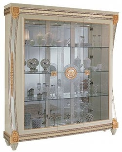 Arredoclassic Liberty Ivory with Gold Italian 3 Glass Door Display Cabinet
