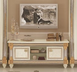 Arredoclassic Liberty Ivory with Gold Italian 2 Door TV Cabinet