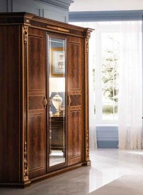 Arredoclassic Modigliani Mahogany Italian 3 Door 1 Mirror Wardrobe