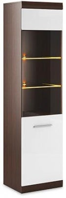 Cabrini Oak and White High Gloss Tall Display Cabinet