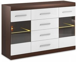 Cabrini Oak and White High Gloss Wide Display Cabinet