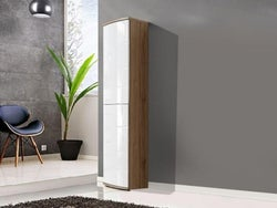 Dunning White High Gloss and Oak Tall Cabinet
