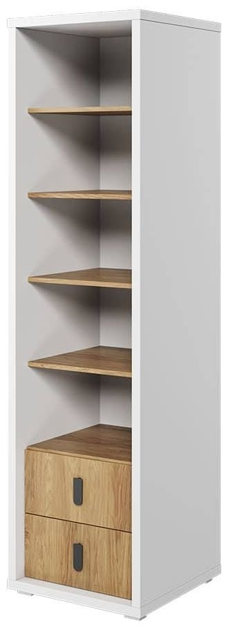 Emily Natural and White Large Bookcase