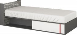 Harry White and Graphite Bed with Mattress