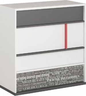 Harry White and Graphite Chest of Drawer