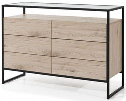 Lassen Oak  6 Drawers Chest with Glass Top