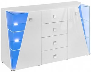 Logan White High Gloss 2 Door Sideboard with LED Light