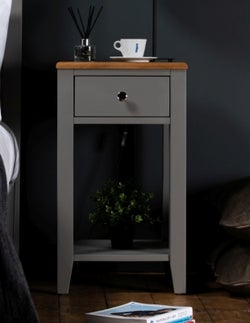 Westcote Grey Painted and Oak Top 1 Drawer Bedside Table