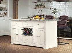 Baumhaus Cream Kitchen Island with Grey  Granite Worktop
