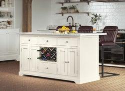 Baumhaus Cream Kitchen Island with White Granite Worktop