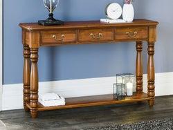 Baumhaus La Reine Mahogany 3 Drawer Console Table