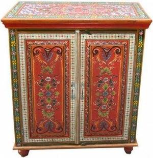 Hand Painted Vintage Folk Pattern 2 Door Cabinet