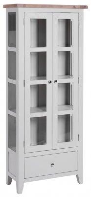 Chalked Oak and Light Grey 2 Door 1 Drawer Glazed Display Cabinet