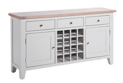Chalked Oak and Light Grey 2 Door 3 Drawer Wine Table
