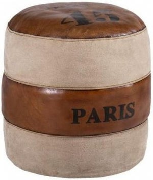 Leather and Fabric Paris Round Pouffe