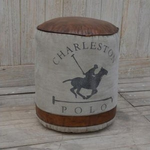Leather and Canvas Polo Pouffe Stool