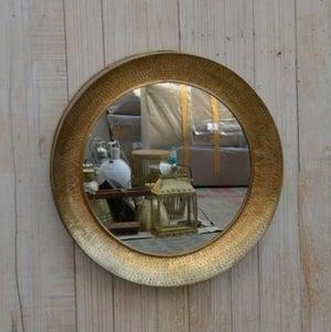 Round Textured Brass Mirror