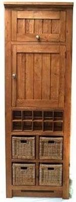 Evelyn Oak 2 Door Larder with Wine Rack and Baskets