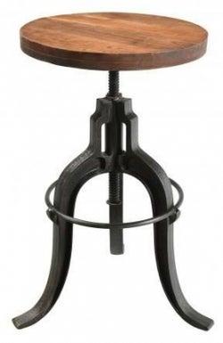 Handicrafts Industrial Adjustable Stool - Iron and Wood