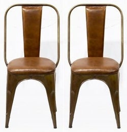 Industrial Padded Brown Leather Chair (Pair)