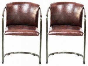 Industrial Leather Dining Armchair (Pair)