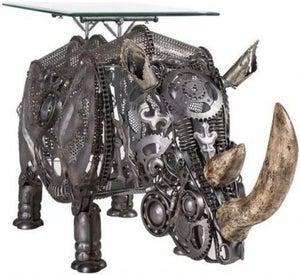 Wrought Iron Rhinoceros Side Table