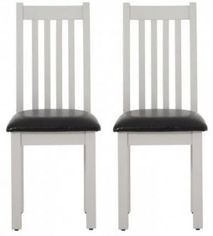 Vancouver Compact Light Grey Dining Chair with Bi Cast Leather Seat (Pair)