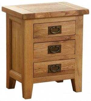 Vancouver Petite Oak 3 Drawer Bedside Cabinet