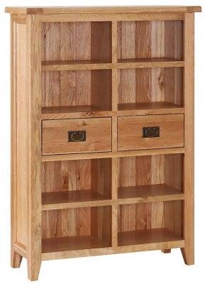 Vancouver Petite Oak 2 Drawer Wide Bookcase