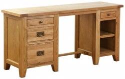 Vancouver Petite Oak 4 Drawer Double Pedestal Desk